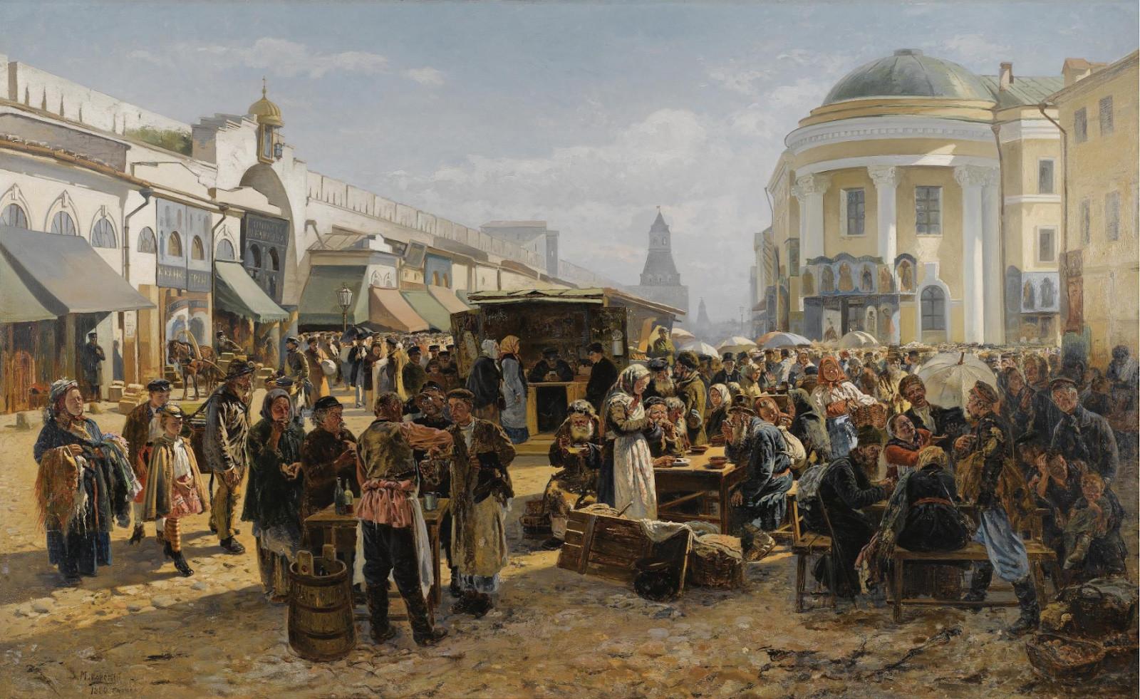 Vladimir Makovski. Un marché aux puces à Moscou, 1880