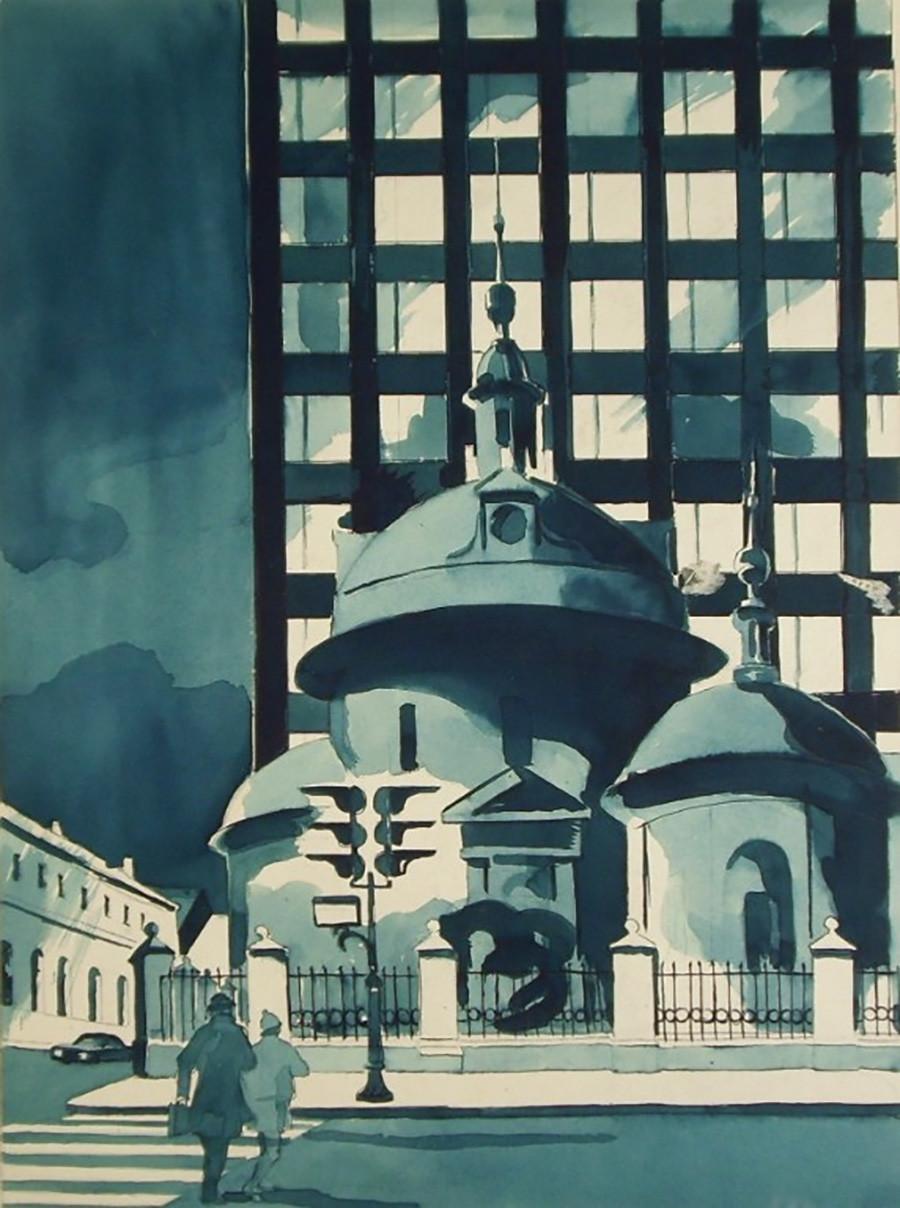 Ossip Avsiyan. Au coin de la rue Marosseïka et de la ruelle Starossadski, 1977