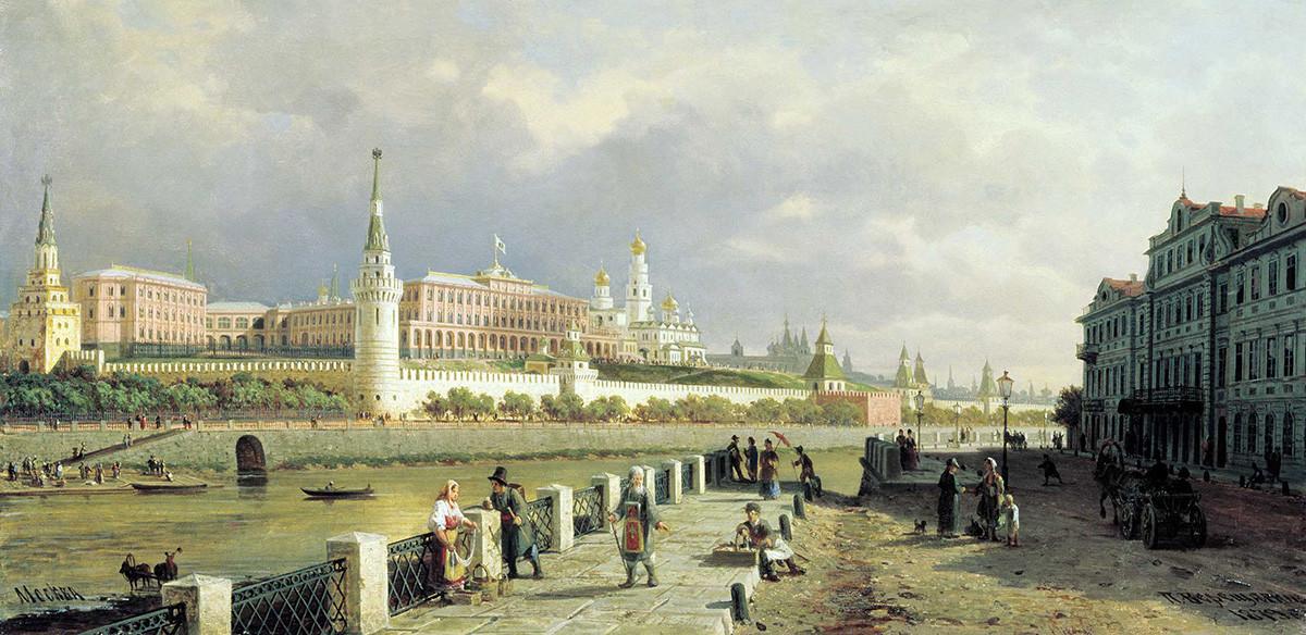 ワシーリー・ヴェレシャーギン、モスクワ・クレムリンの景色、1879年