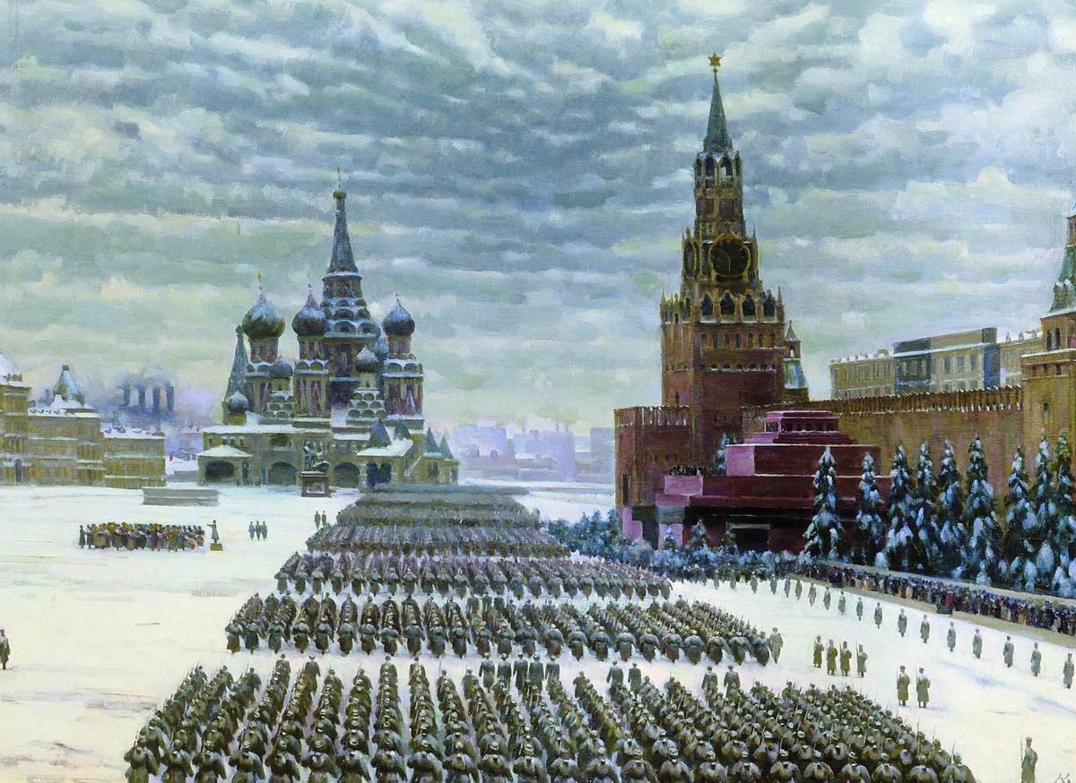 コンスタンチン・ユオン、1941年11月7日に行われたモスクワの赤の広場でのパレード、1942年