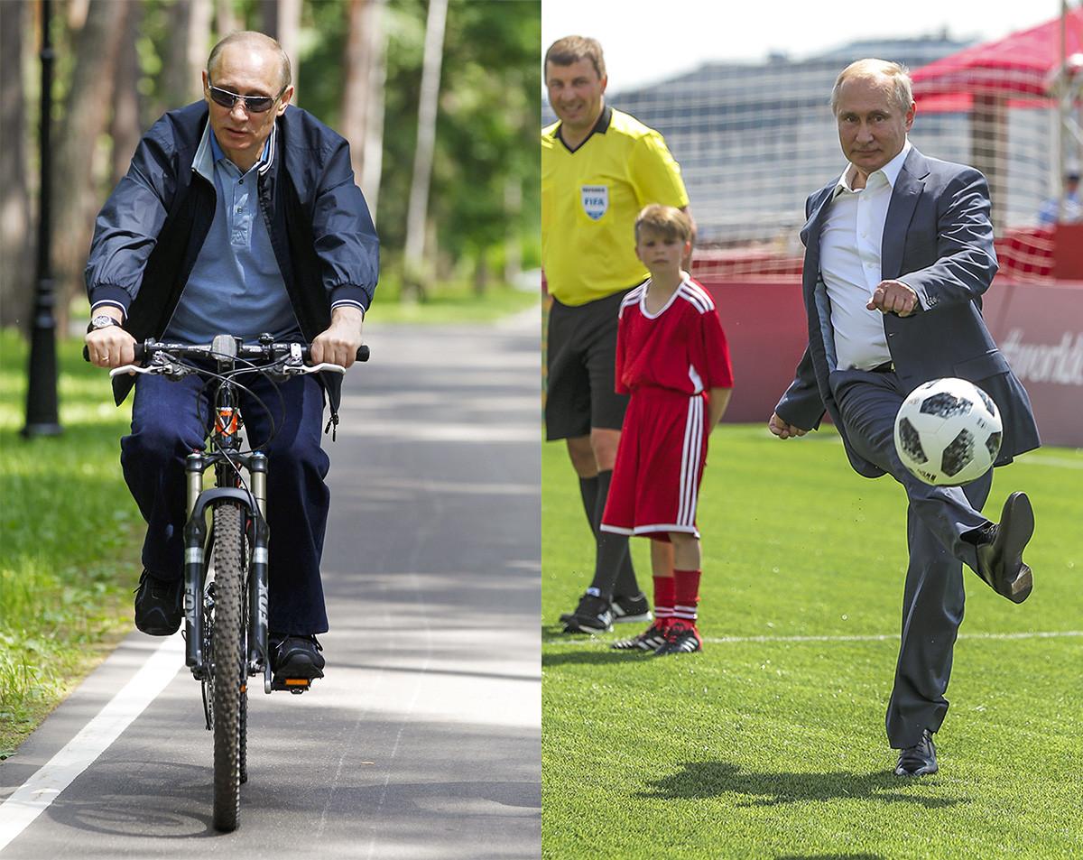 A destra, Putin all'inaugurazione di una partita di calcio amichevole fra bambini e leggende della FIFA, organizzata in Piazza Rossa a Mosca durante i Mondiali di Calcio 2018; a sinistra Putin in bicicletta