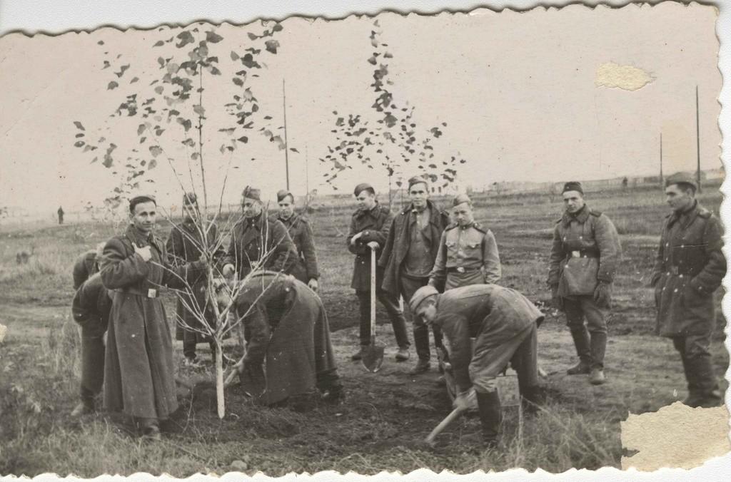 Soldats à un soubbotnik, années 1950