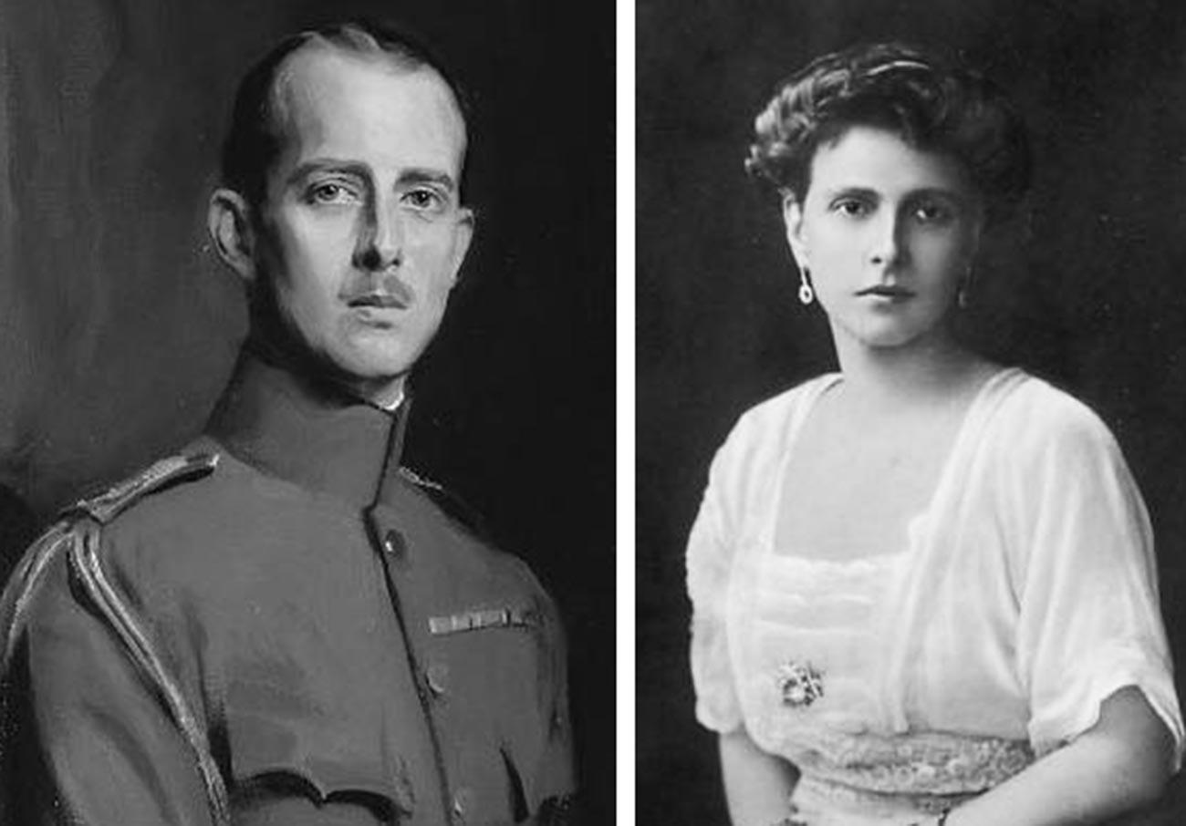 Princesa Alice de Battenberg (dir.) e príncipe André da Grécia (esq.)