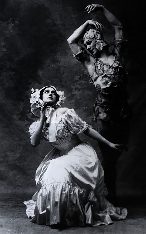 Foto de Nijinski e Karsavina na primeira apresentação do balé 'Espírito da Rosa', 1911