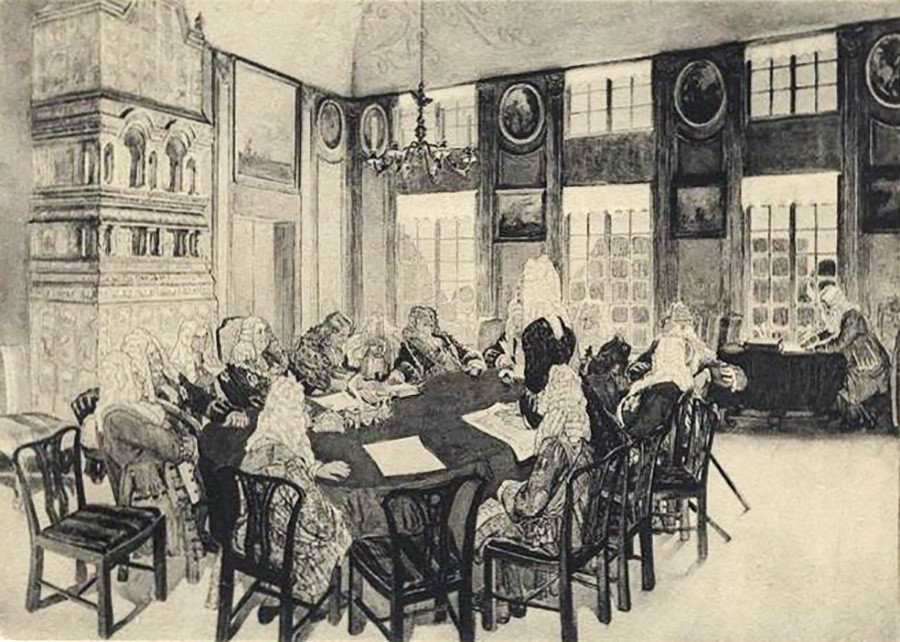 Der regierende Senat in den Jahren von Peter dem Großen.