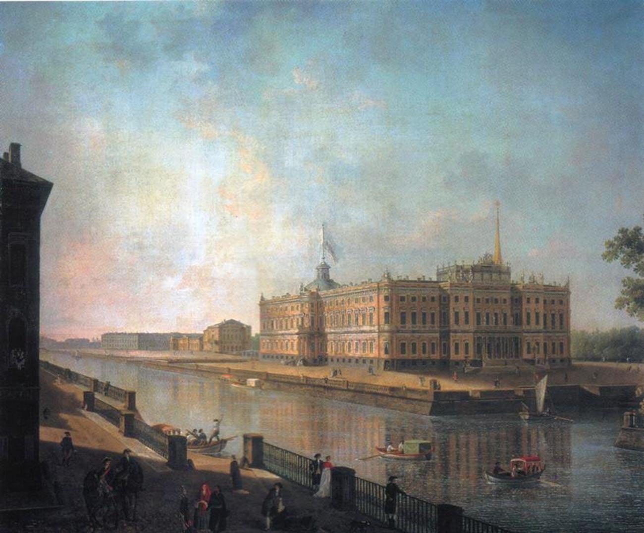 フォンタンカ川から見たサンクトペテルブルクのミハイロフスキー城の風景、1800年