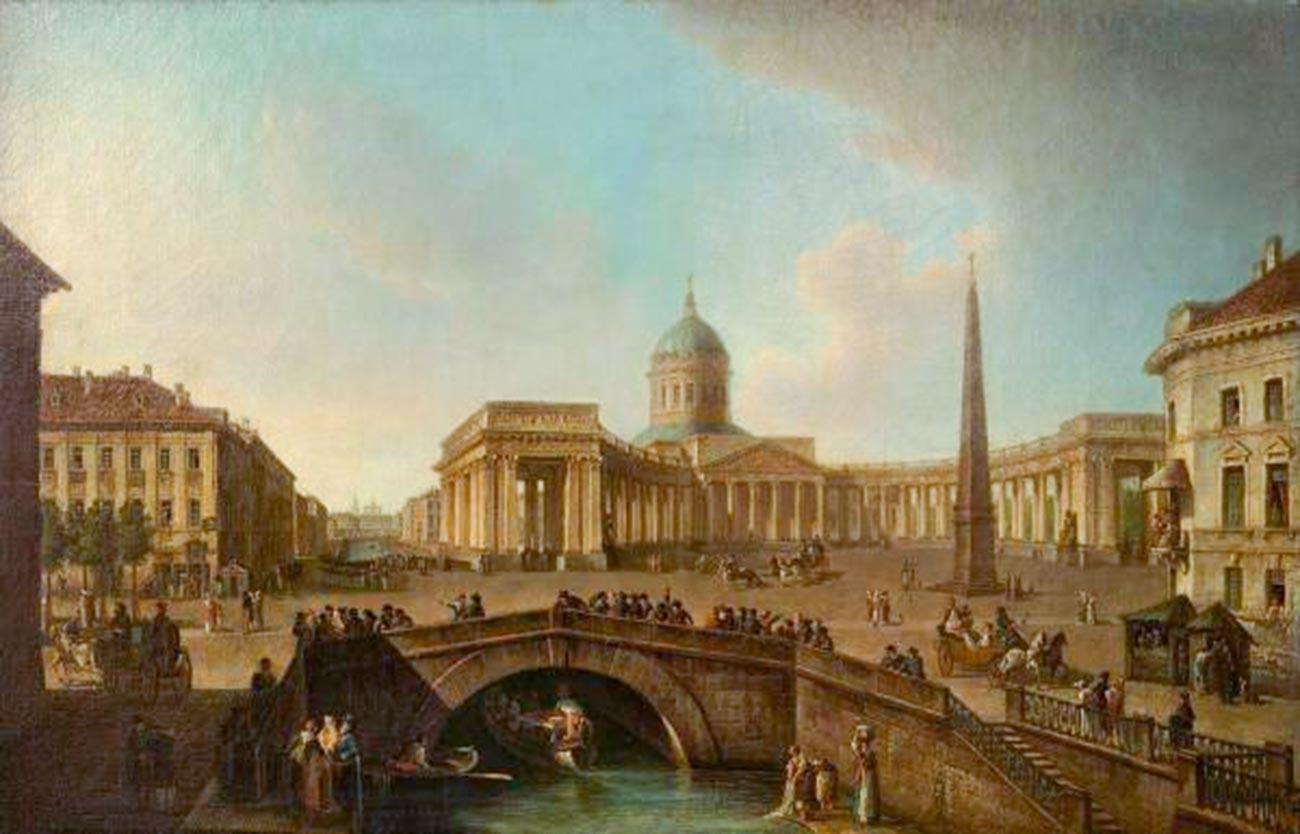 ペテルブルクのカザン聖堂の景色、19世紀初頭