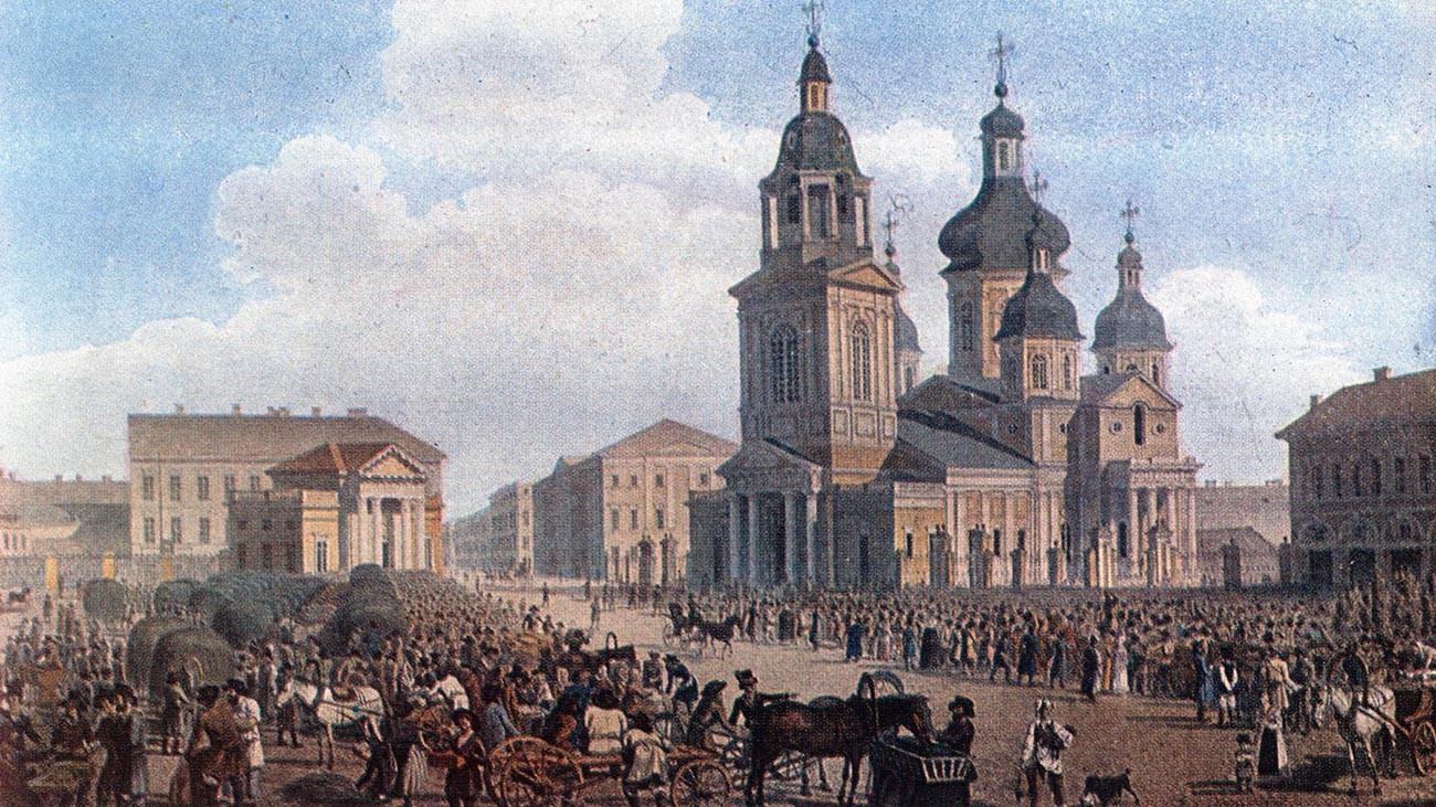 センナヤ広場、ペテルブルク、1822年