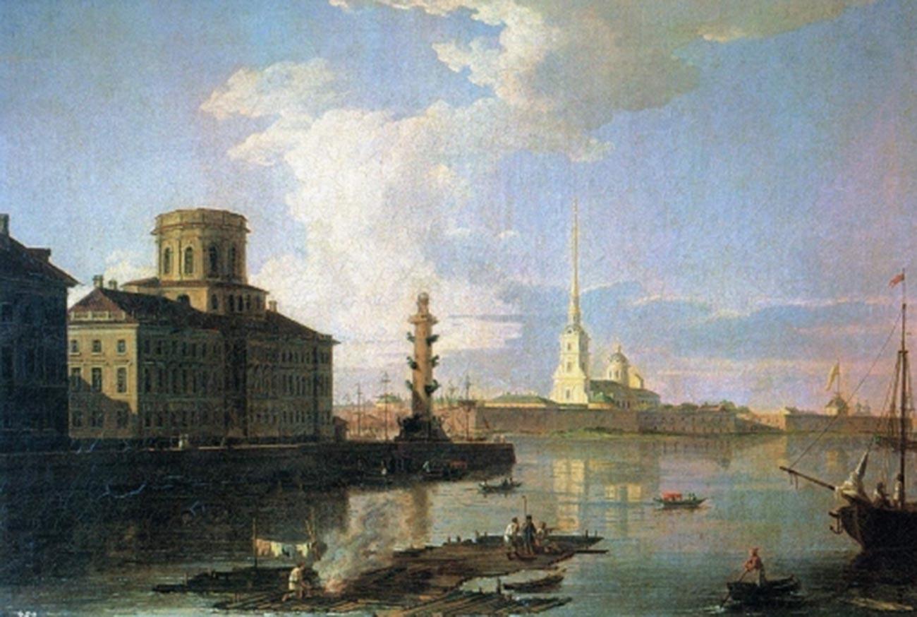 聖イサアク大聖堂とピョートル1世の銅像、1820年代末から1830年代初頭