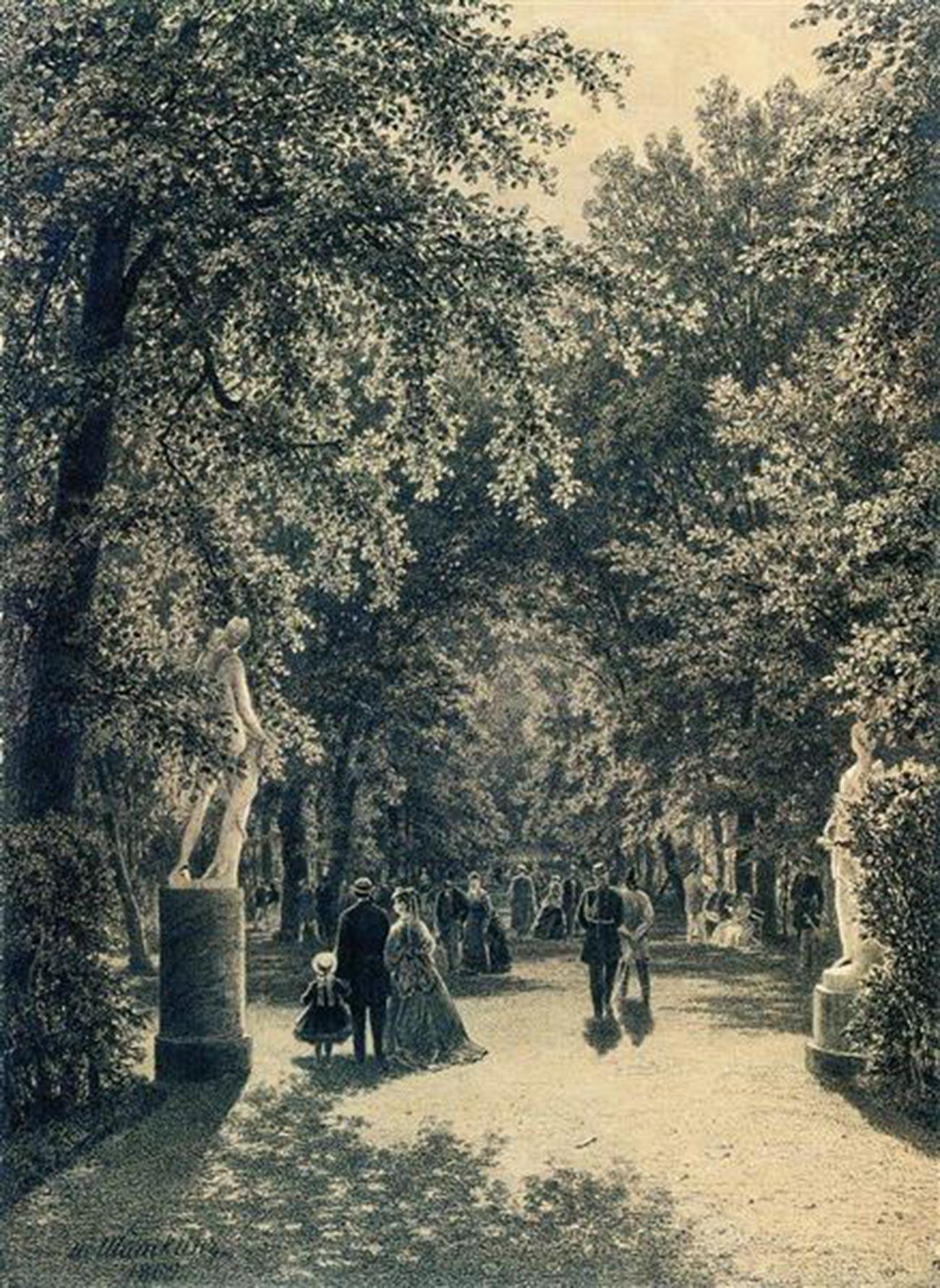 ペテルブルクの夏の庭園の並木道、1869年