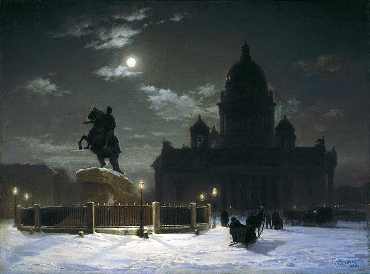 サンクトペテルブルクのセナツカヤ広場にあるピョートル1世の銅像、1870年