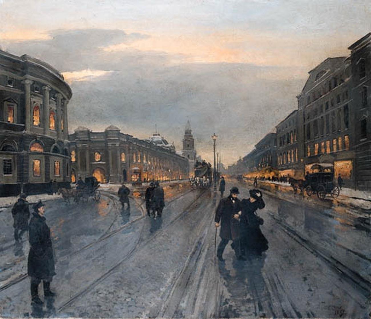 夜のネフスキー大通り、1882年