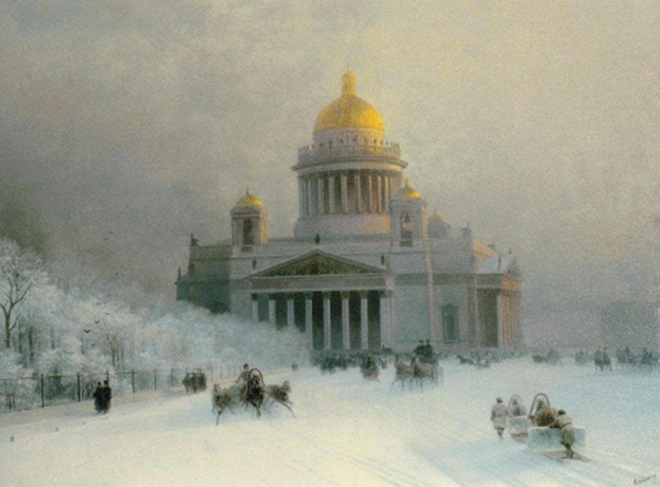 酷寒の日の聖イサアク大聖堂、1891年