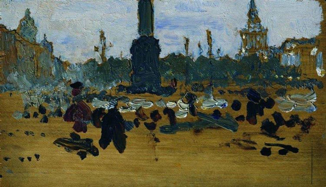 ペテルブルクの宮殿広場、1905年