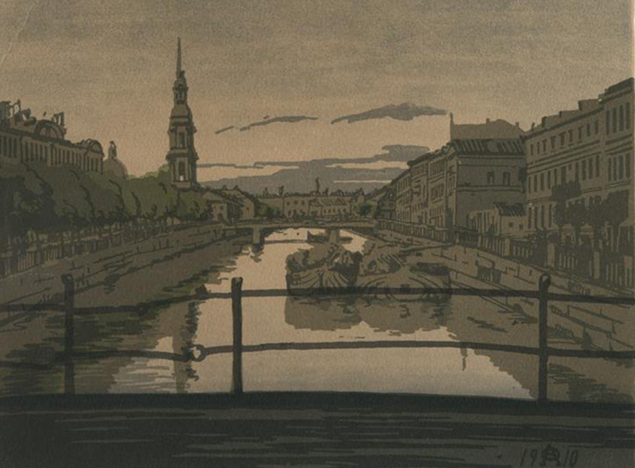 ペテルブルクのクリュコフ運河、1910年