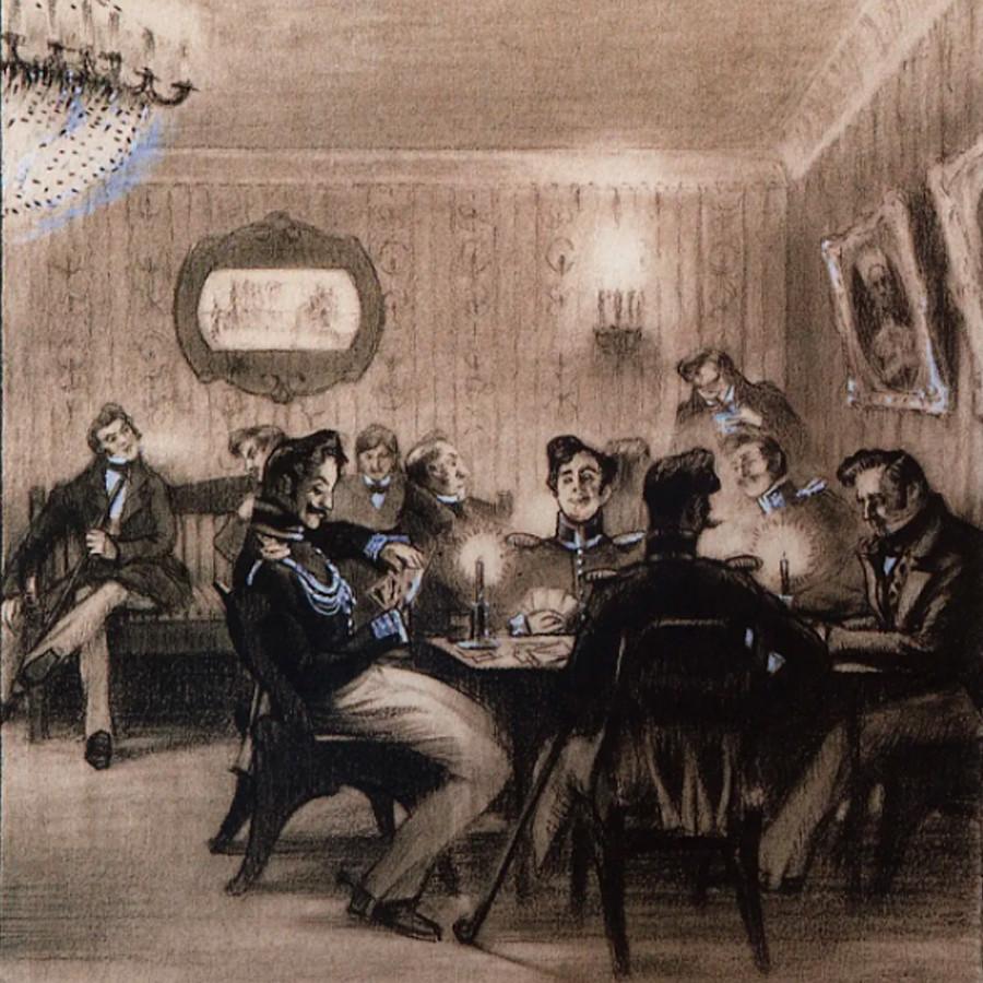 Una partita di whist. Illustrazioni di Boris Kustodiev per il racconto di Gogol