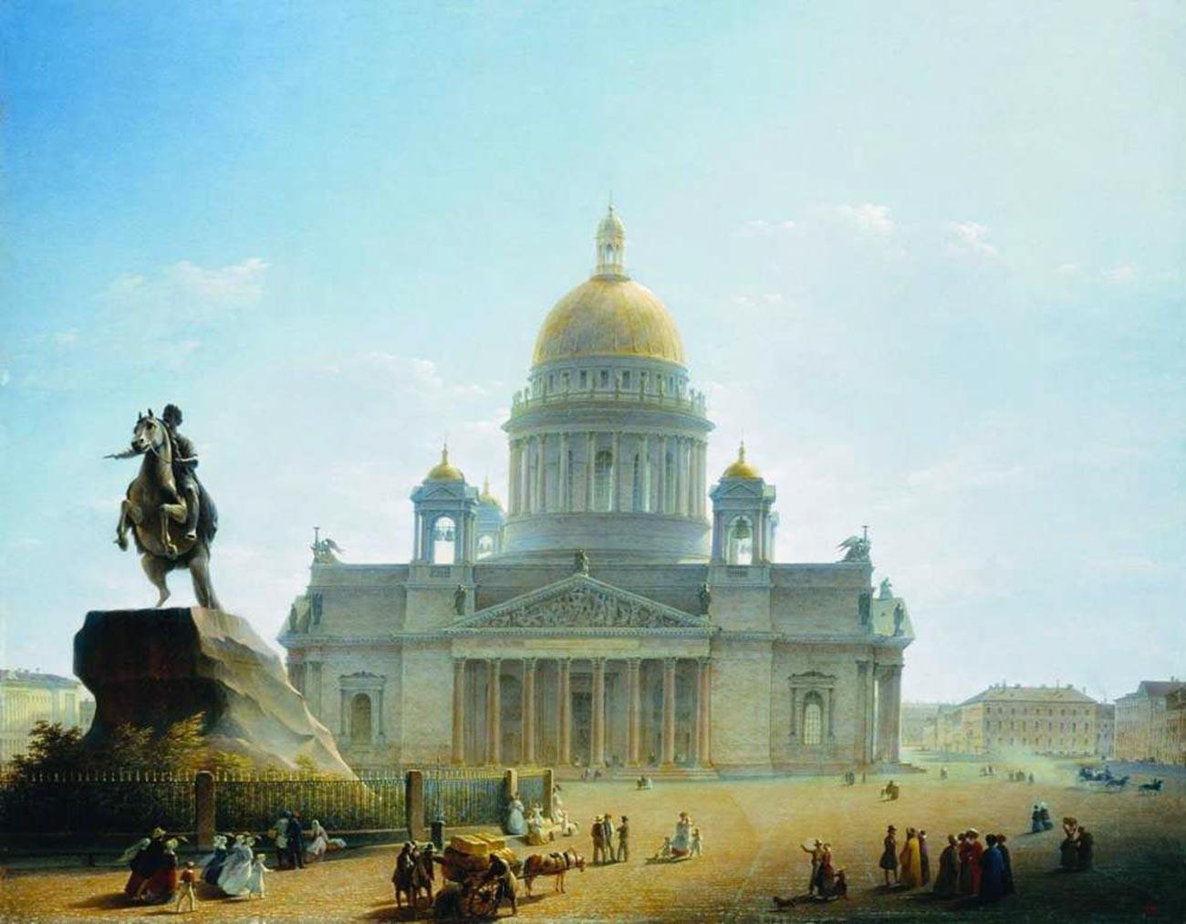 La cathédrale Saint-Isaac et le Cavalier de bronze, monument à Pierre le Grand. Fin des années 1820 - début des années 1830
