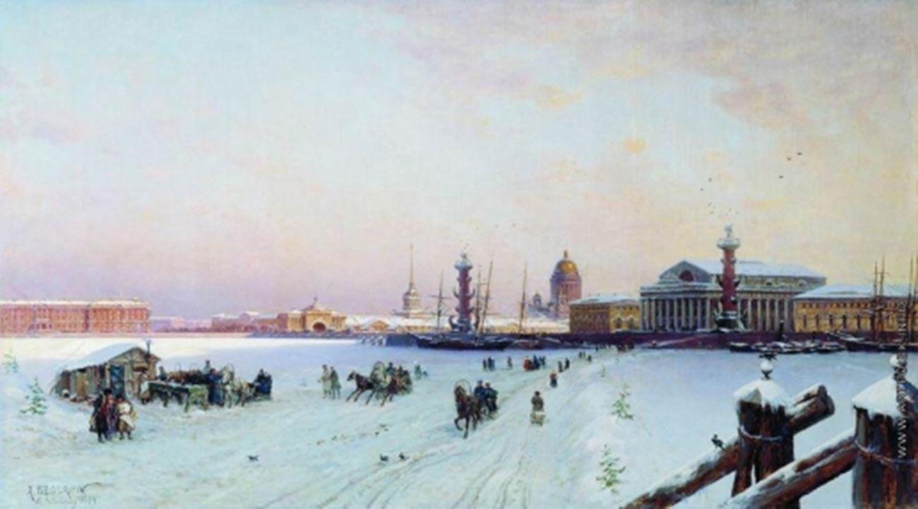 Vue sur la Neva et la flèche de l'île Vassilievski, 1879