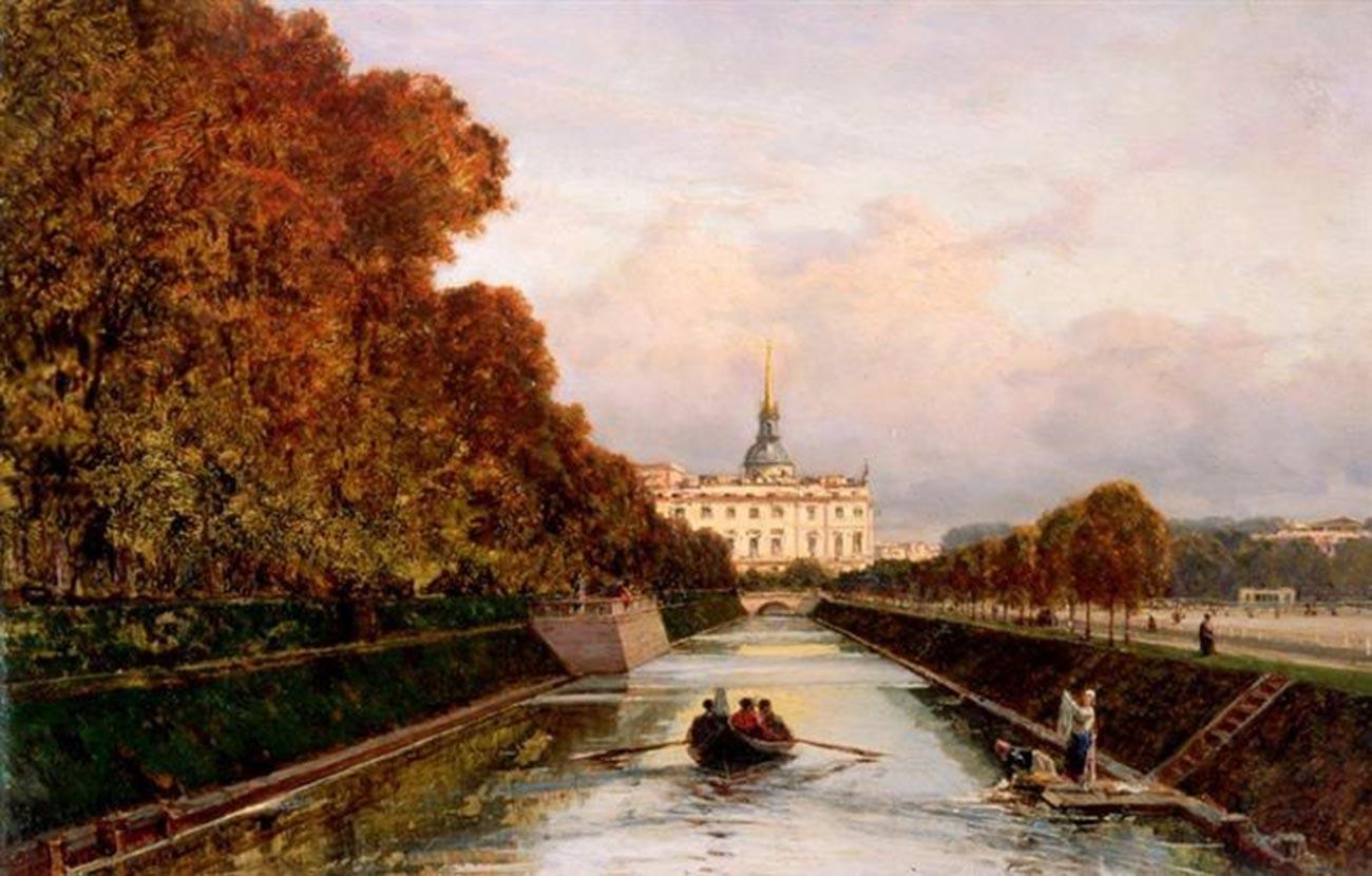 Vue depuis le Canal des Cygnes au château Saint-Michel, 1880