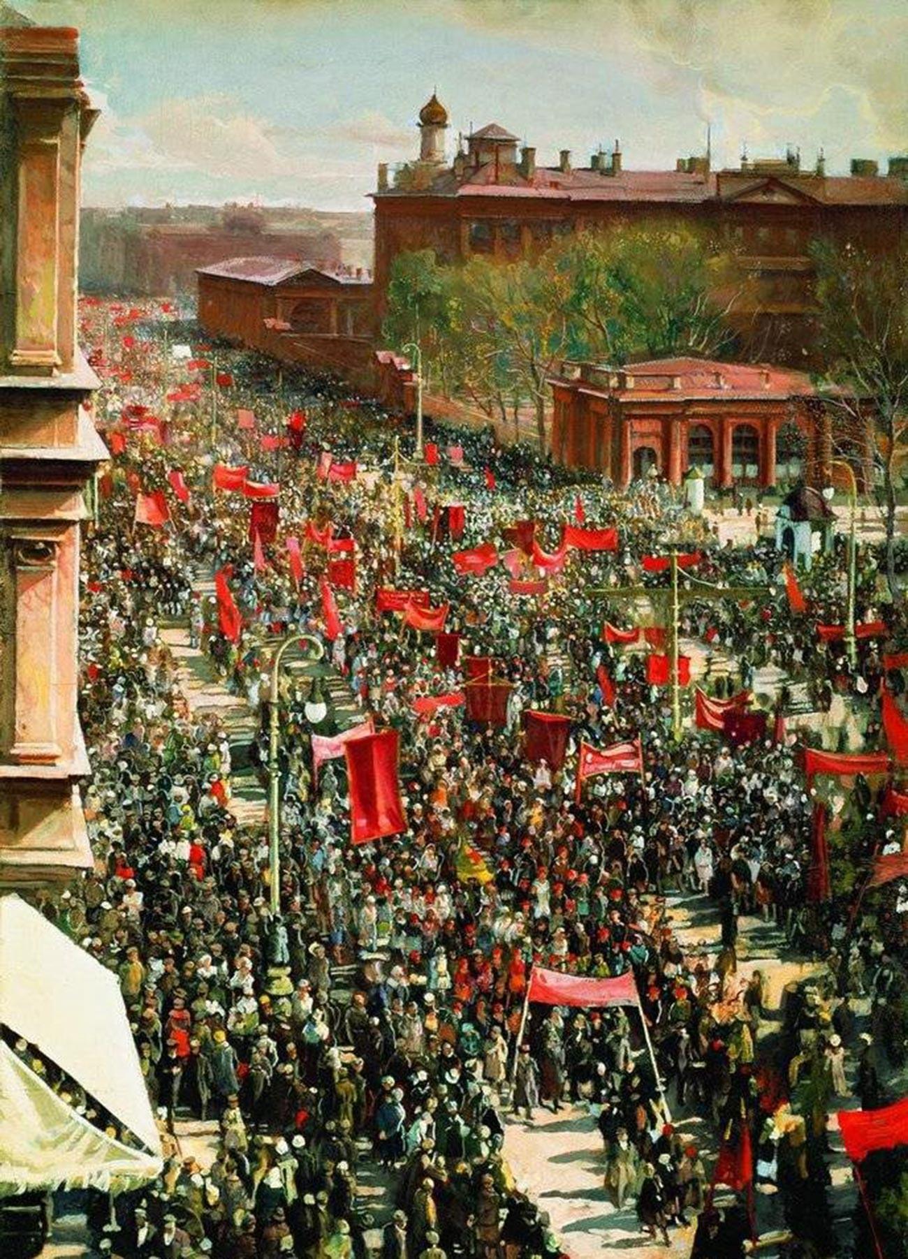 Manifestation du 1er mai sur l'avenue du 25 octobre, 1934