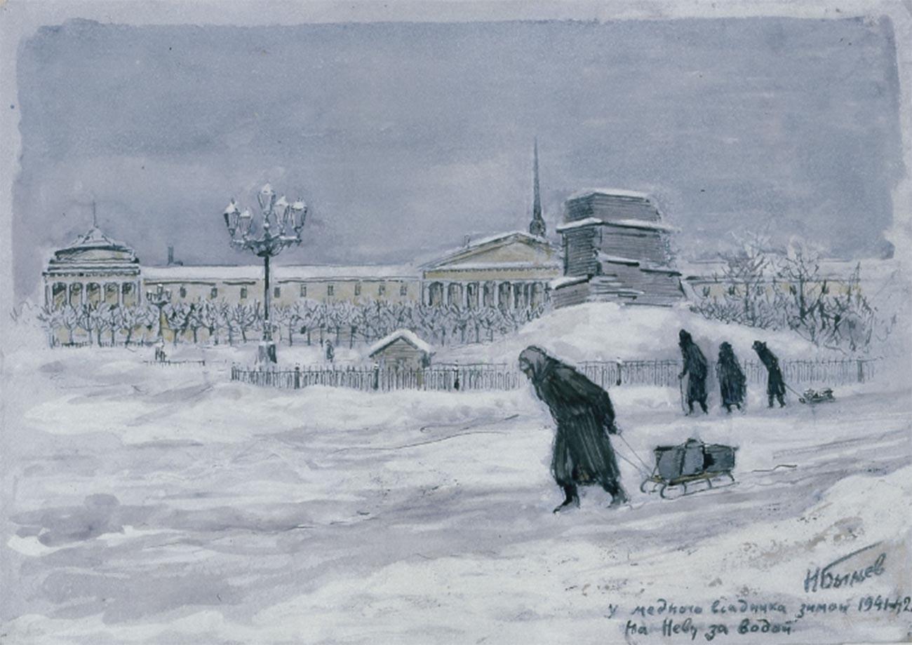 Près du Cavalier de bronze en hiver. Vers la Neva pour chercher de l'eau, 1941-1942