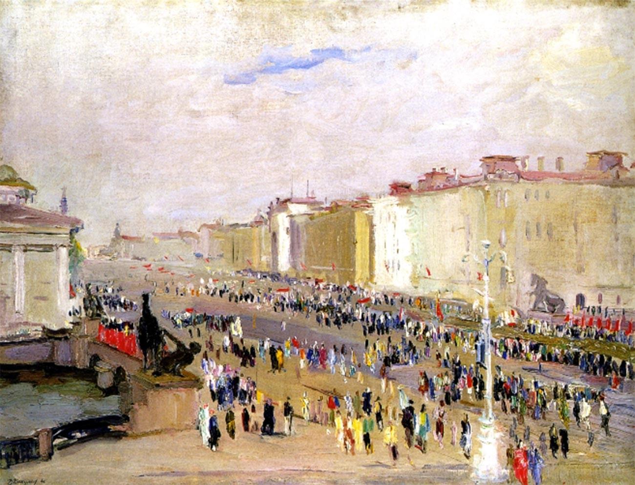 Perspective Nevski lors d'une célébration, le 9 juillet 1945