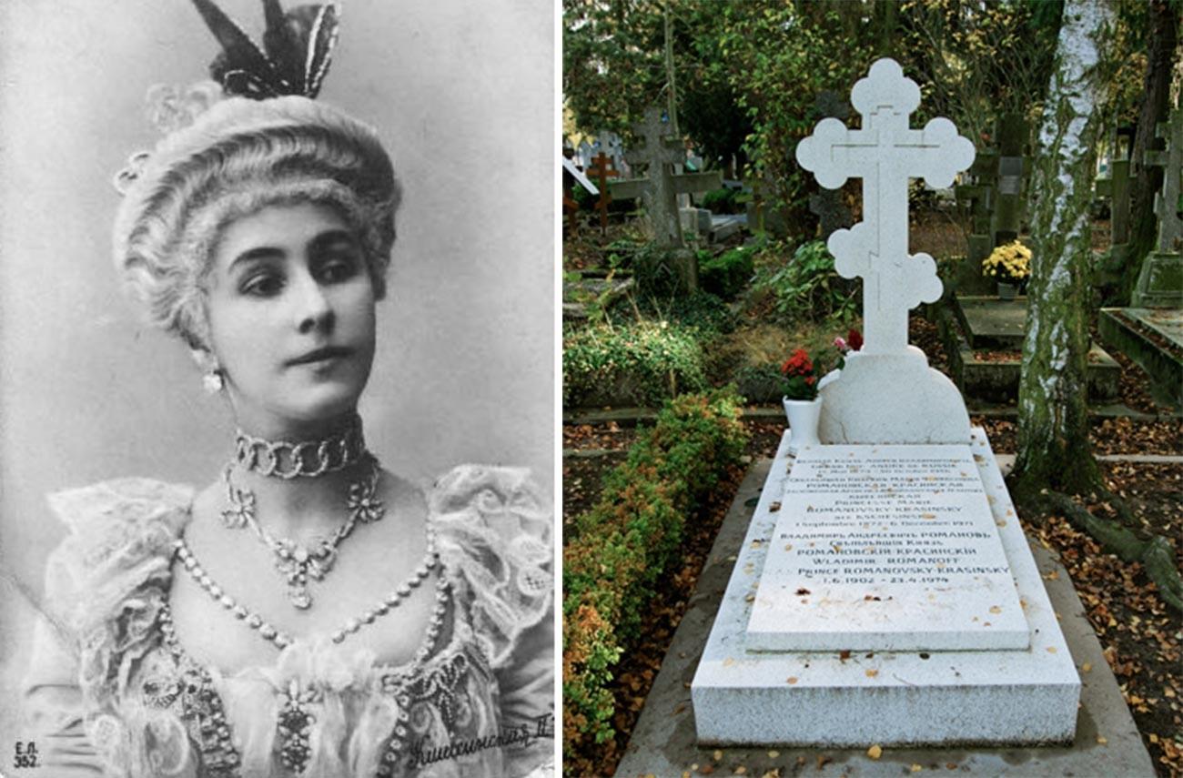 Fotopostkarte von Matilda Kschessinskaja / Grab von Großherzog Andrei, Matilda Kschessinskaja und Wladimir Romanowski-Krasinski. Russischer Friedhof Sainte-Geneviève-des-Bois.