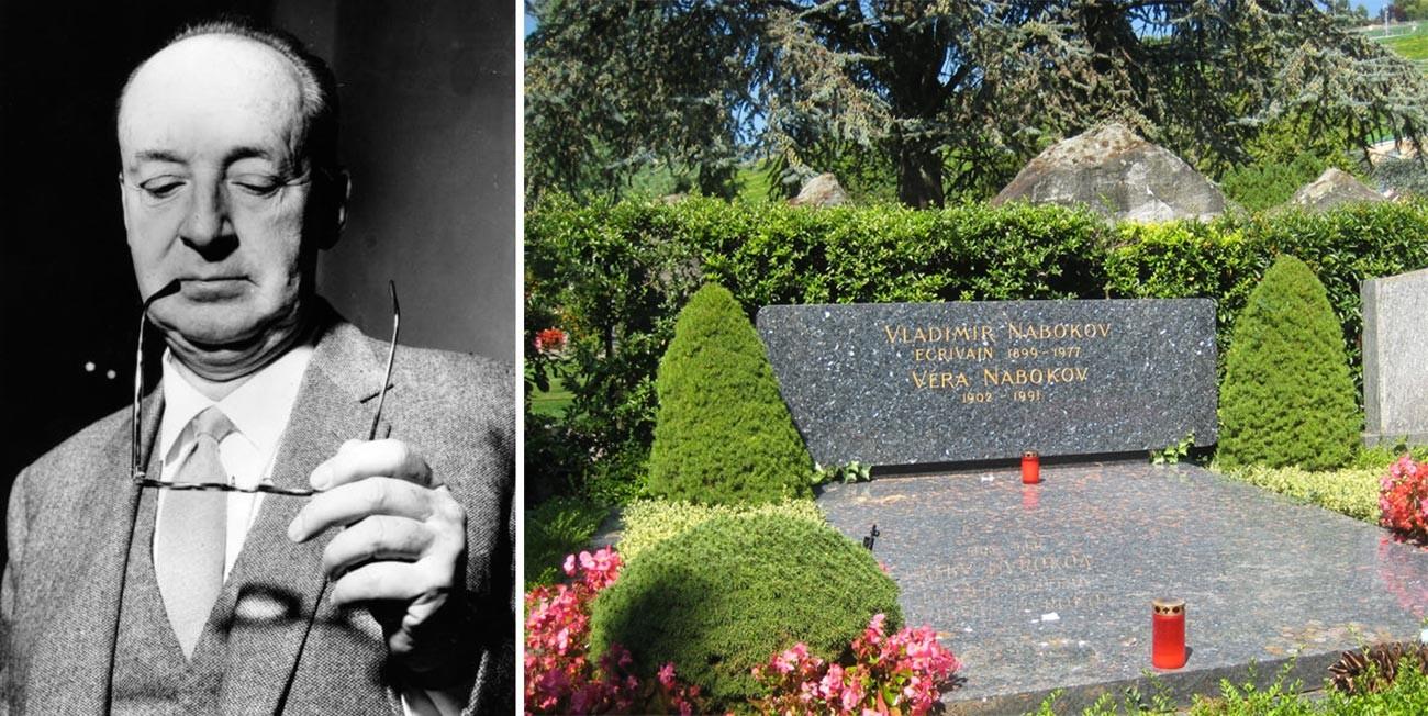 Wladimir Nabokow in Rom / Grab von Wladimir, Wera und Dmitri Nabokow, Montreux-Clarens, Schweiz.
