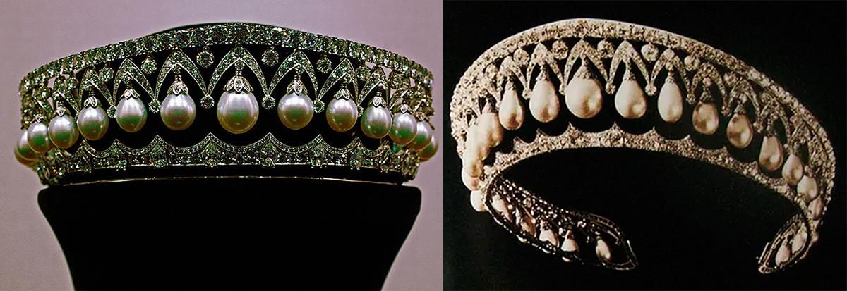 Tiara de Belleza rusa y tiara de perlas.