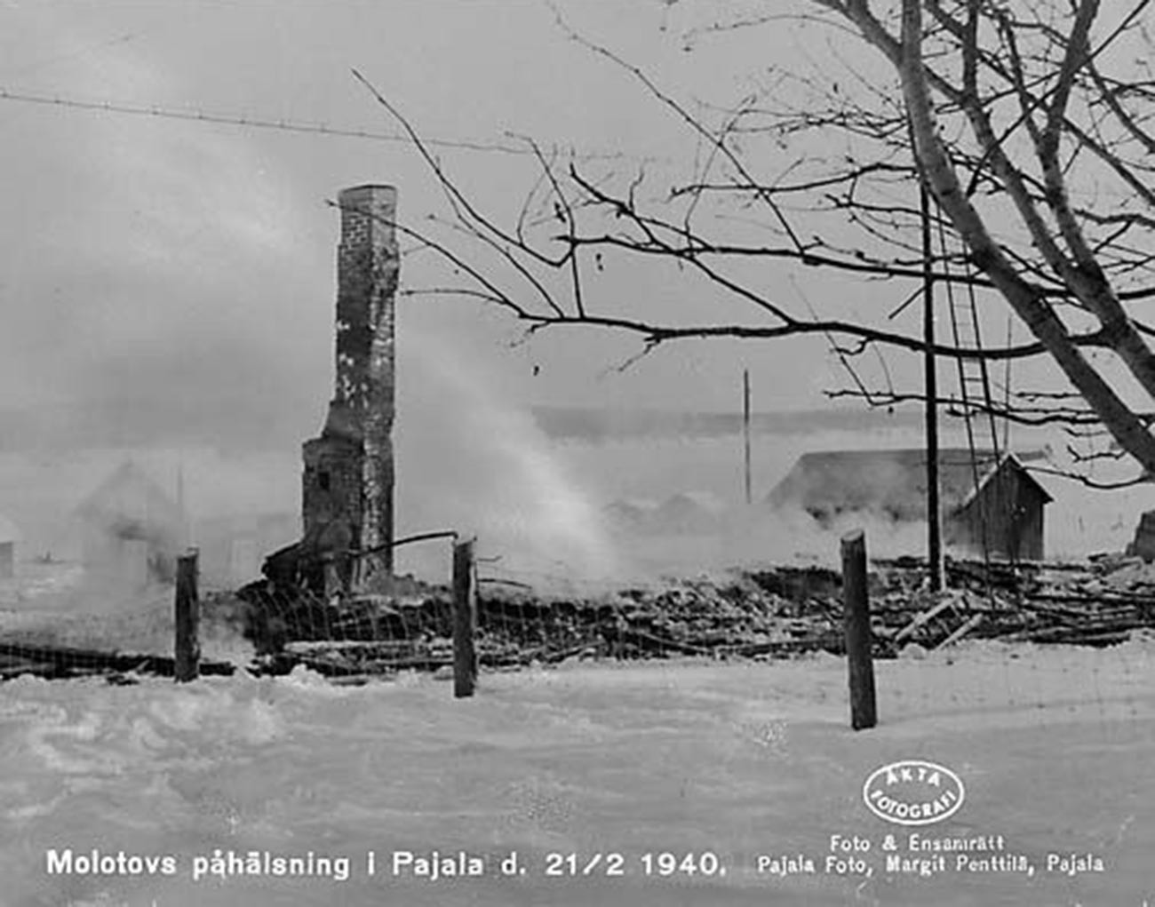 Le macerie a Pajala dopo il bombardamento sovietico