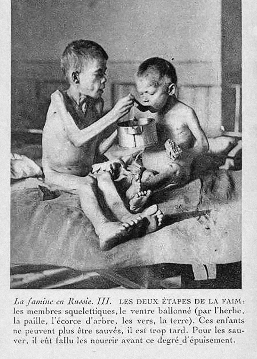 Hungernde Kinder während einer Hungersnot in Sowjetrußland. Ein Foto von Nansen.