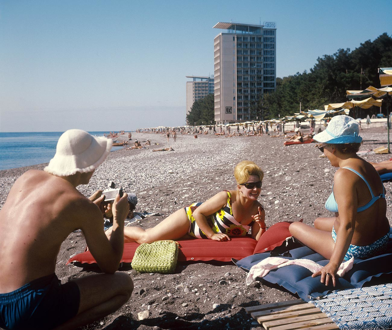 Georgian SSR. Abkhazia. Pitsunda. Vacationers on the beach
