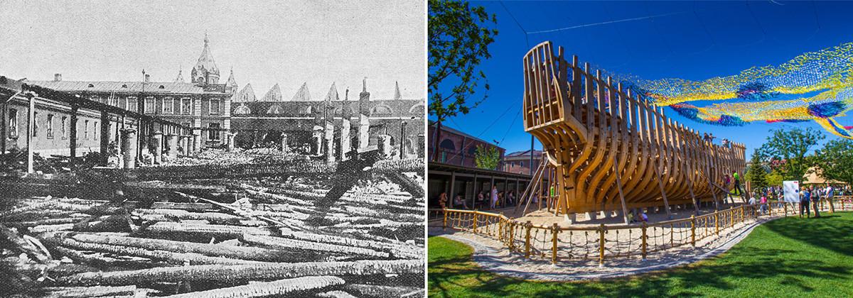 Novaya Gollandiya setelah kebakaran pada 1900, dan tampilan Taman Novaya Gollandiya hari ini.