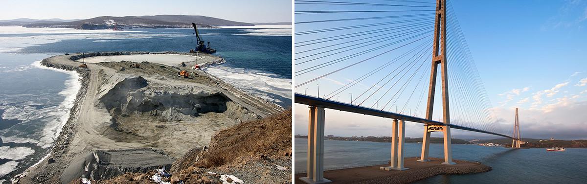 Pembangunan jembatan pada 2009 dan tampilan jembatan sekarang.
