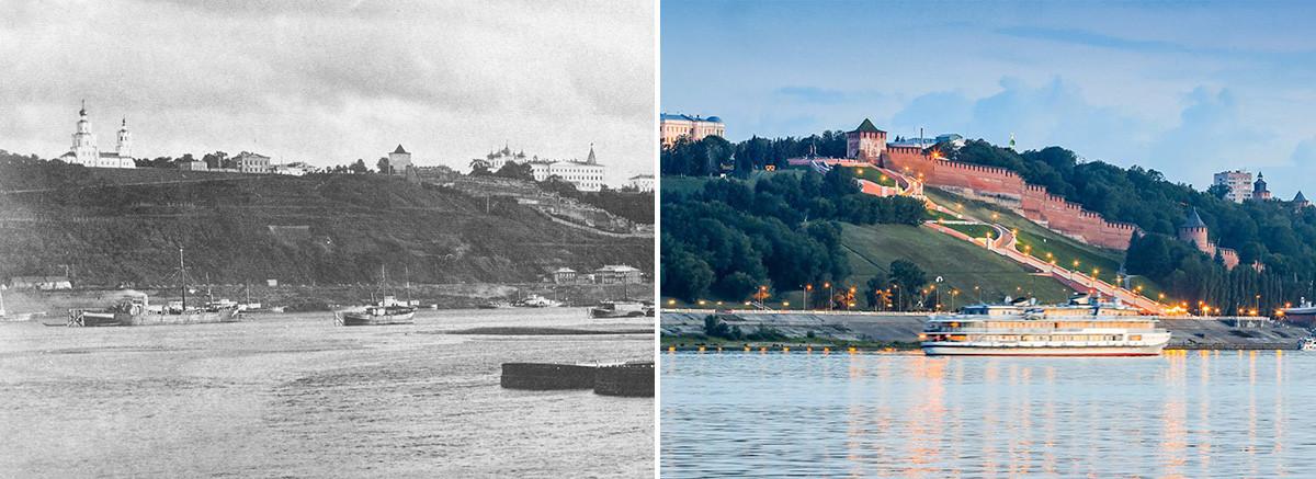 Pemandangan dari Sungai Volga pada1886, dan pemandangan yang sama sekarang.