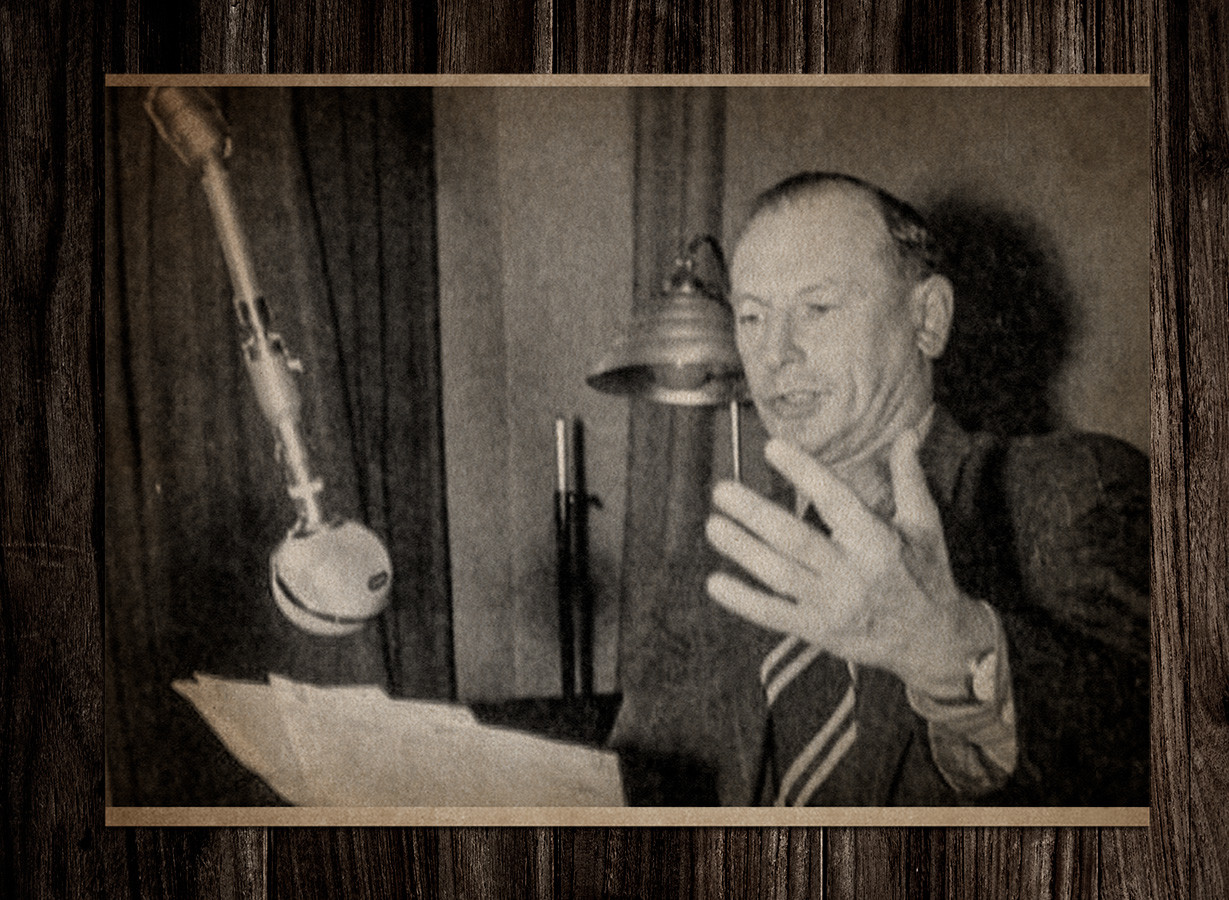 Pyotr Sokolov recording propaganda broadcasts on radio