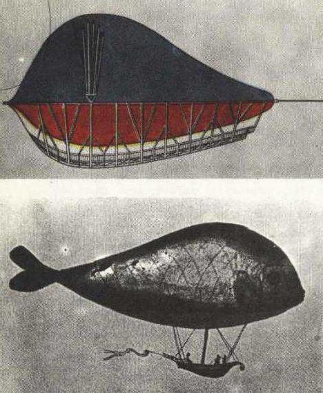 Primer dirigible ruso, diseño de Franz Leppich