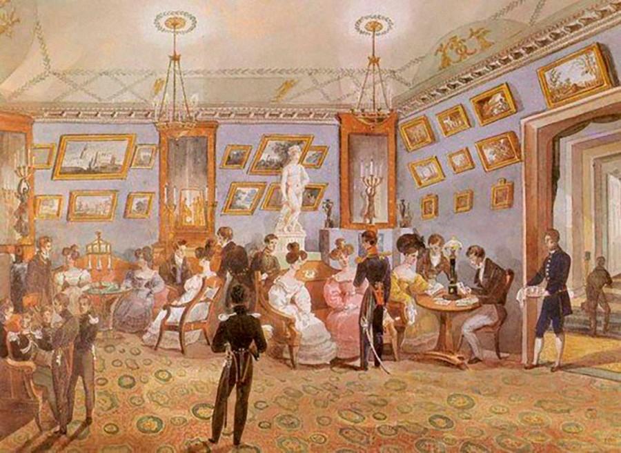 Великосветски салон. Акварел от 1930-те