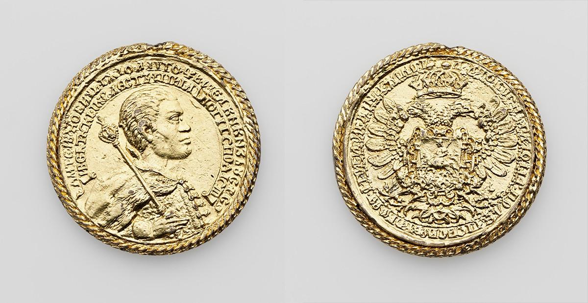 Médaille à la mémoire du couronnement du Premier Faux Dimitri. Il a été frappé du cachet original du début du XVIIe siècle