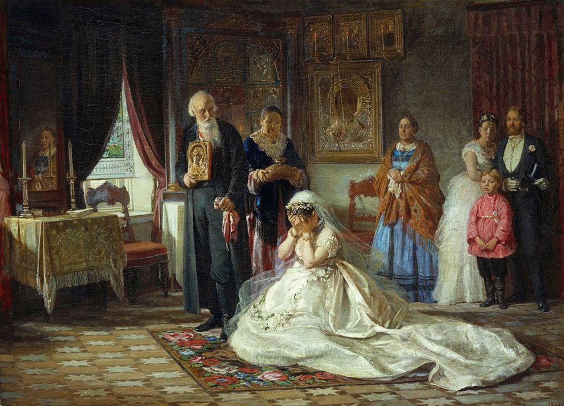 """""""Vor der Krönung der Braut"""" von Firs Schurawljow, 1874."""