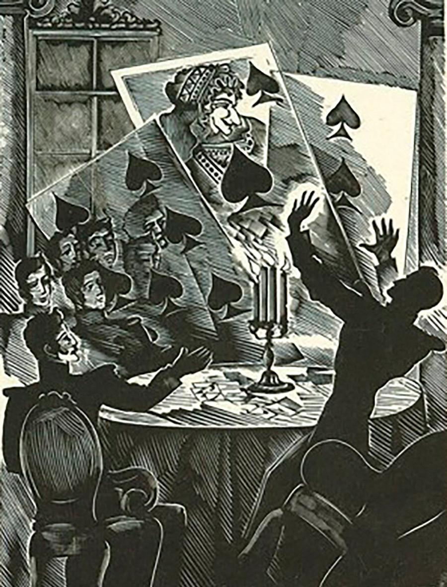 Alexei Kravchenko. An illustration to Alexander Pushkin's 'The Queen of Spades'