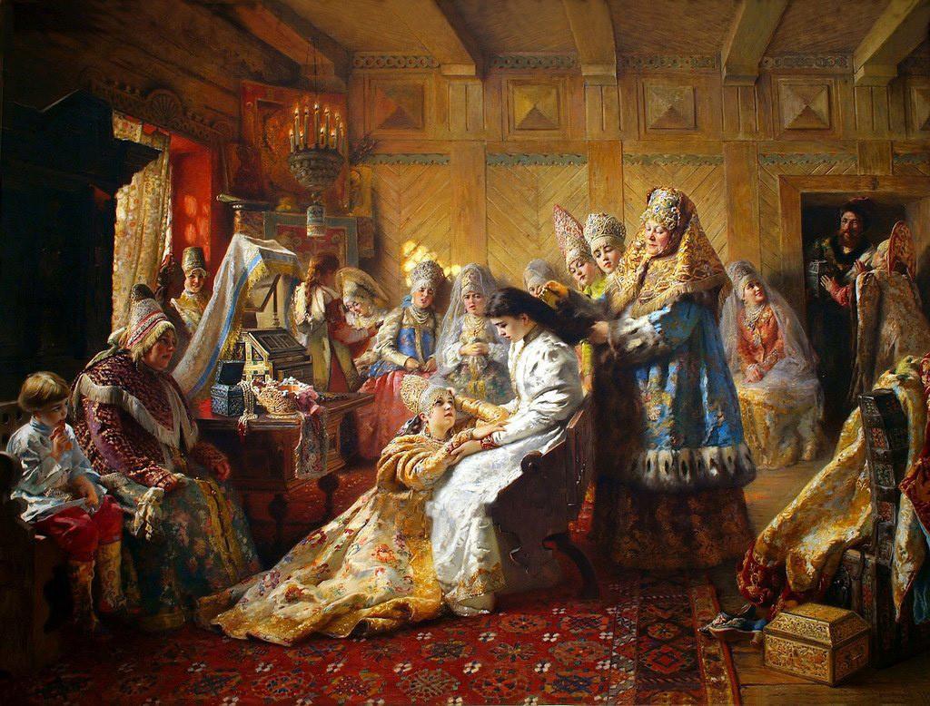 """""""Busana Pengantin"""" oleh Konstantin Makovsky, 1890"""