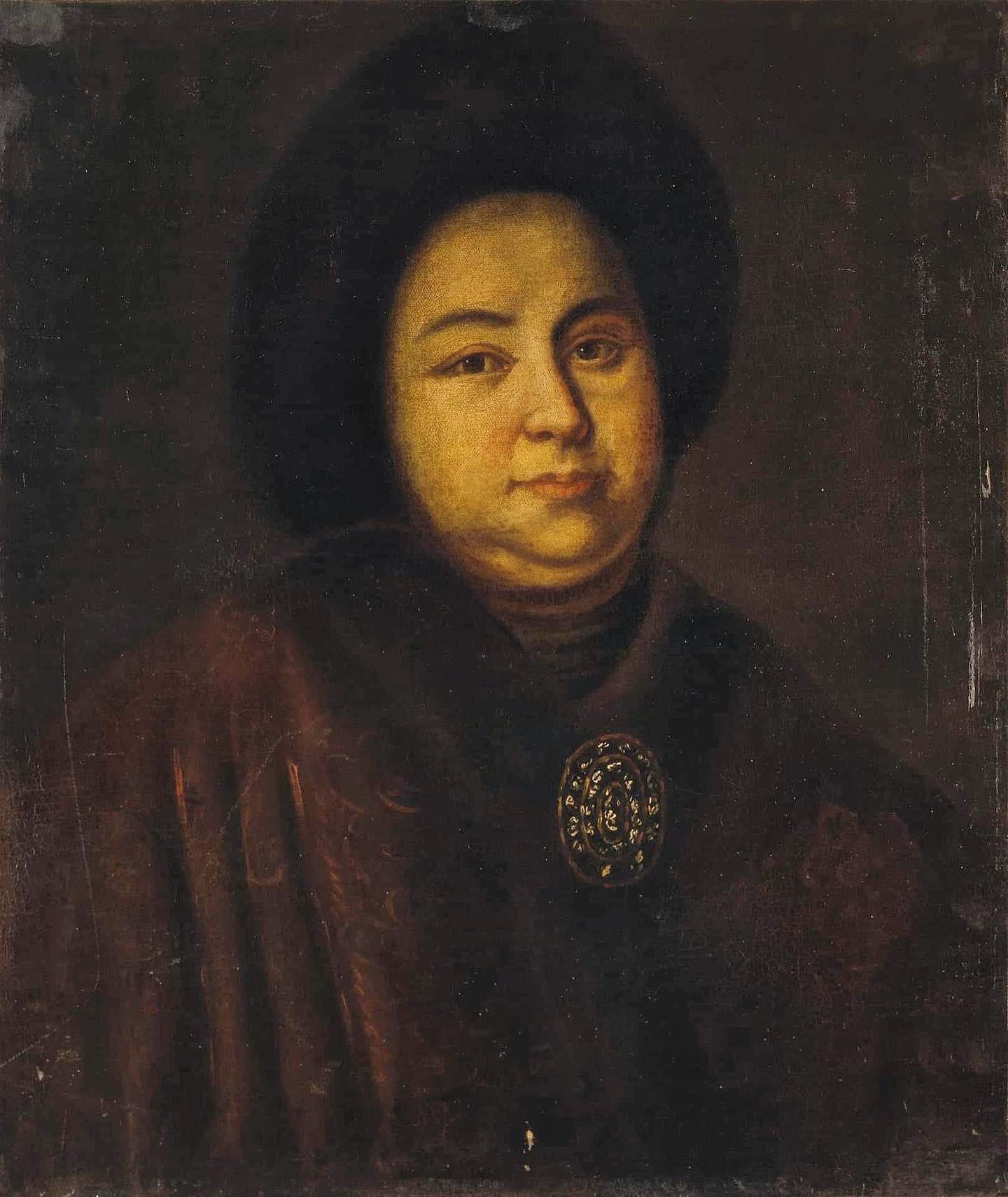 Pelukis anonim. Potret Tsarina Yevdokiya Lopukhina abad ke-18 (1669—1731)