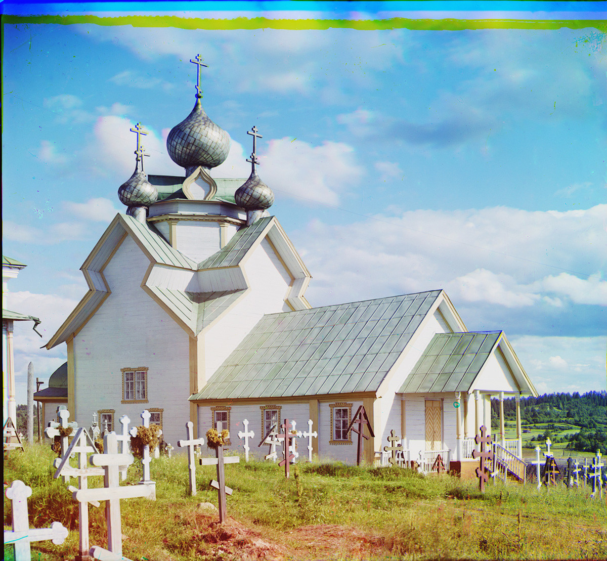 Devyatiny village. Church of the Dormition of the Virgin, northwest view. Destroyed by fire in 1984. Summer 1909