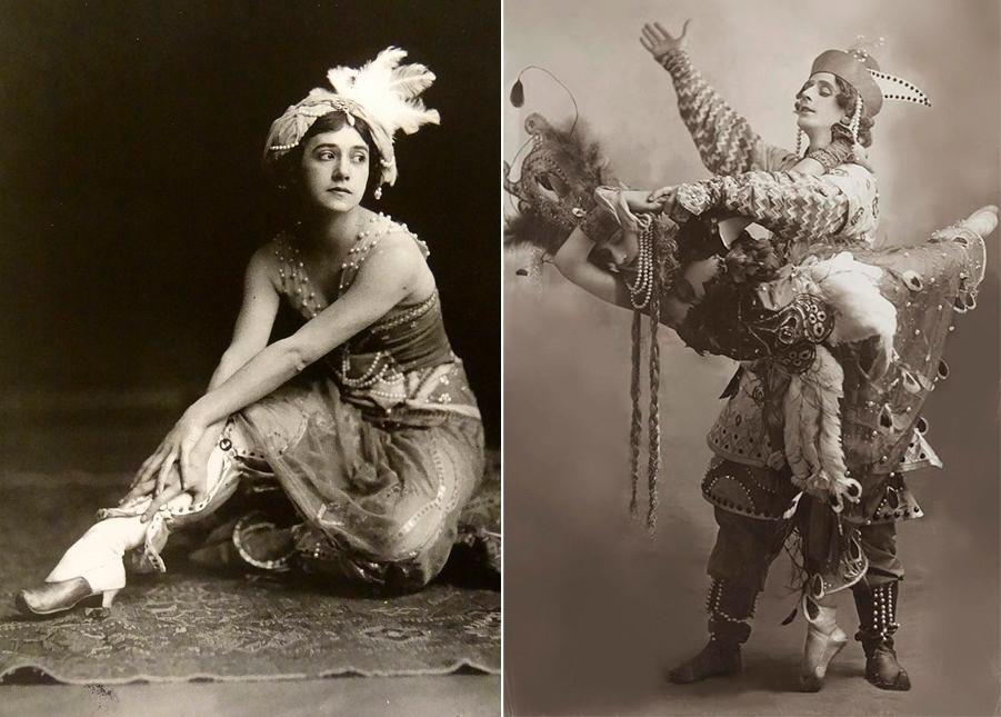 Left: Tamara Karsavina as Zobeida in Scheherazade, 1911; Tamara Karsavina and Michel Fokine in The Firebird.