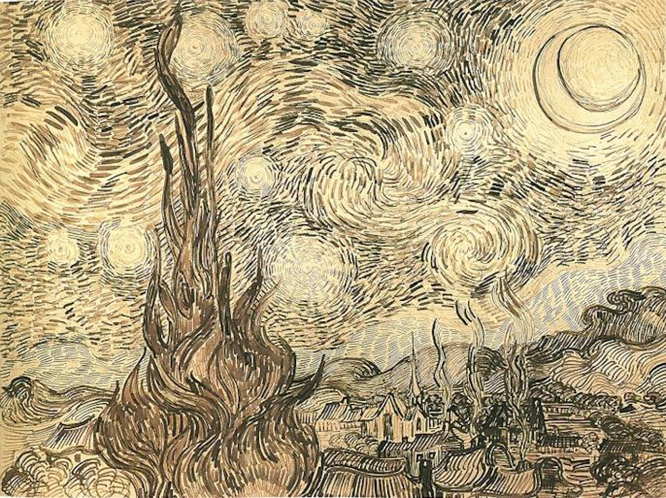 Vincent van Gogh. The Starry Night (drawing)