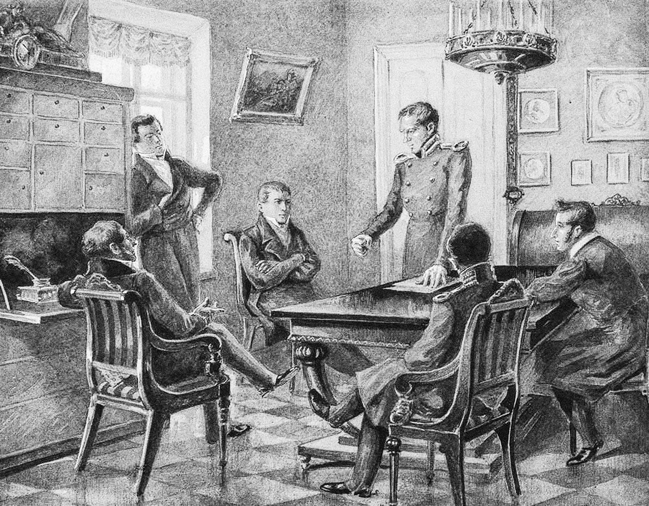 Pavel Pestel berpidato pada pertemuan Komunitas Desemberis Utara di Sankt Peterburg.