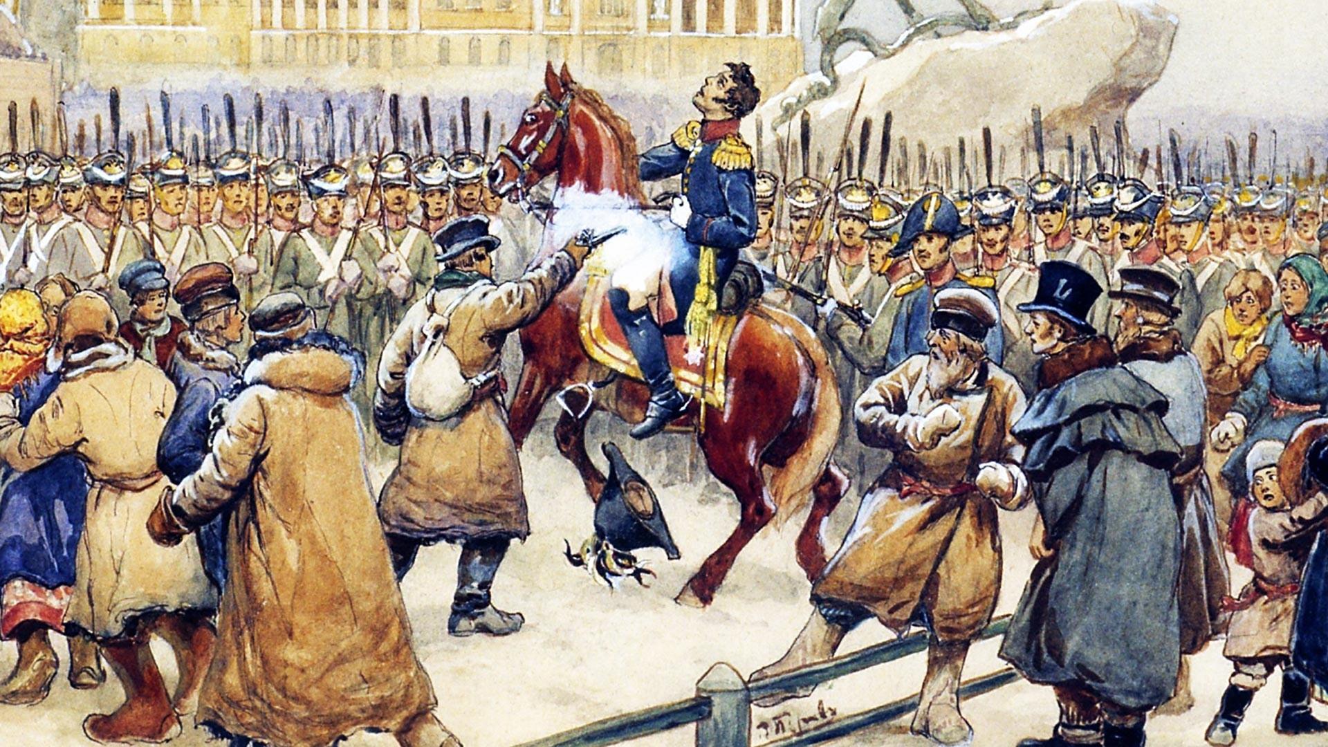 """""""Penembakan Jenderal Miloradovich pada 14 Desember 1825"""" oleh Vasily Perov"""