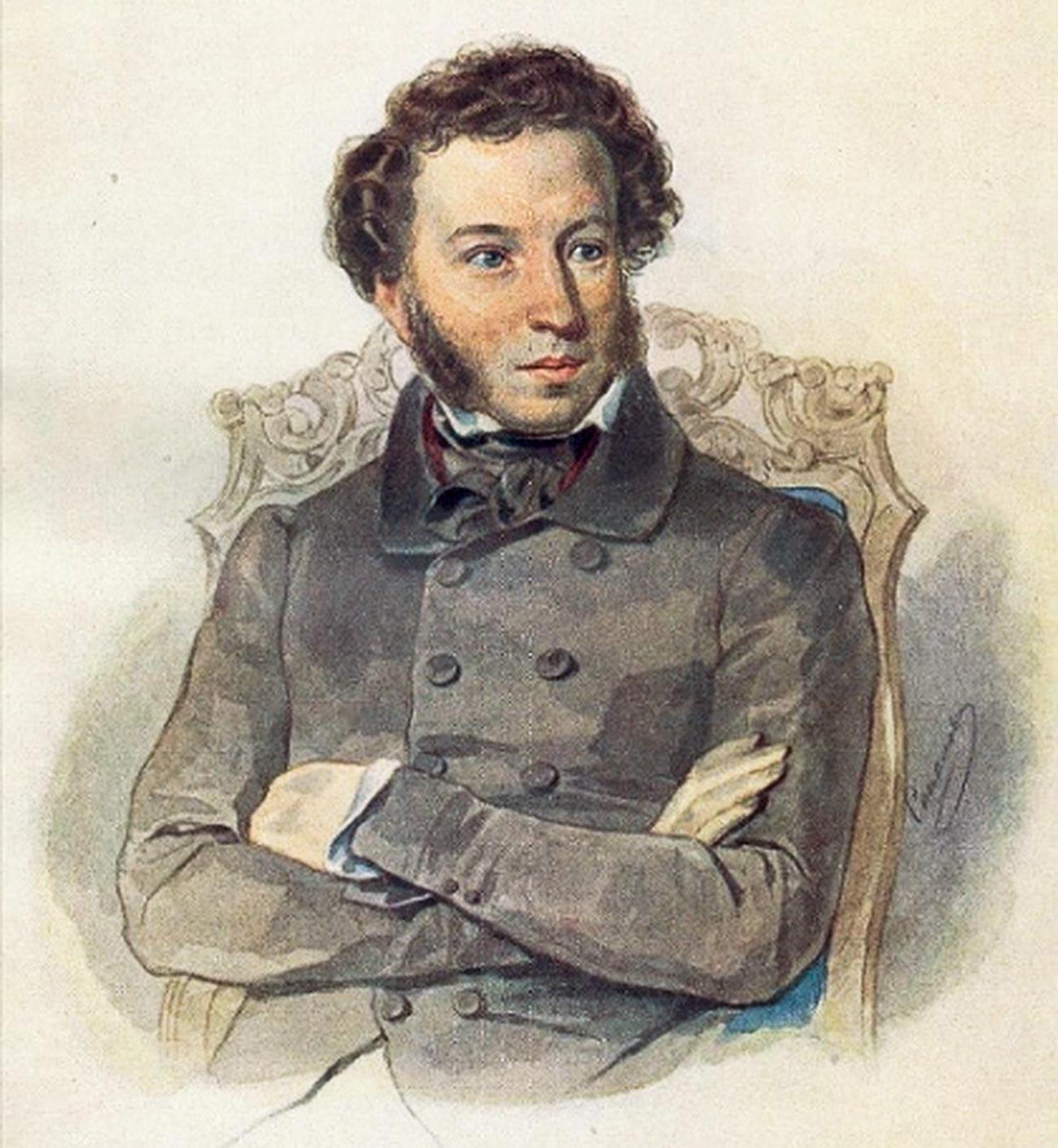 Portrait of Alexander Pushkin, by Pyotr Sokolov, 1836.