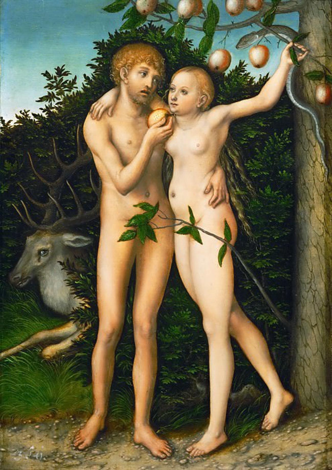 Адам и Ева. Грехопадение. 1537 г.